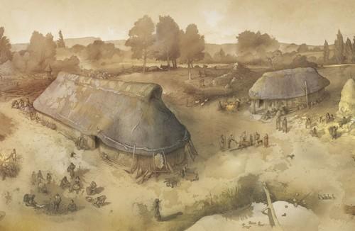 Reproducción de las estructuras halladas en el yacimiento de Las Camas.