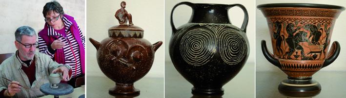 El matrimonio Callandrini-Rolli durante el curso impartido en Padilla de Duero y algunas de las cerámicas donadas: villanoviana, bucchero etrusco y crátera griega.