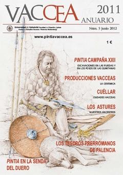 Portada de <i>Anuario Vaccea</i> n.º 5, a partir de un dibujo de Luis Pascual-CEVFW, que evoca al personaje sexagenario de la tumba n.º 28 de la necrópolis de Las Ruedas.