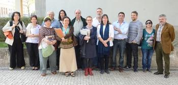 Los nuevos participantes lusos en VacceArte, tras la reunión mantenida en la Biblioteca Pública de Vila Nova de Gaia.