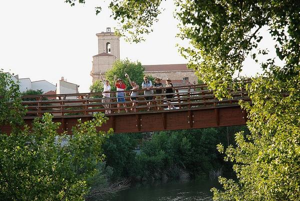 Los alumnos de los cursos internacionales sobre el puente que cruza el Duero frente a Pesquera