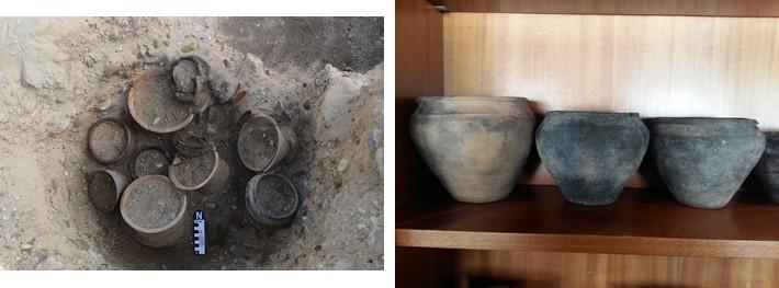 Tumba 314 durante el proceso de excavación y algunas piezas de la misma tras pasar por el laboratorio