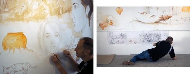 Luis Pascual trabajando en su mural (fotografías de Marco Temprano)