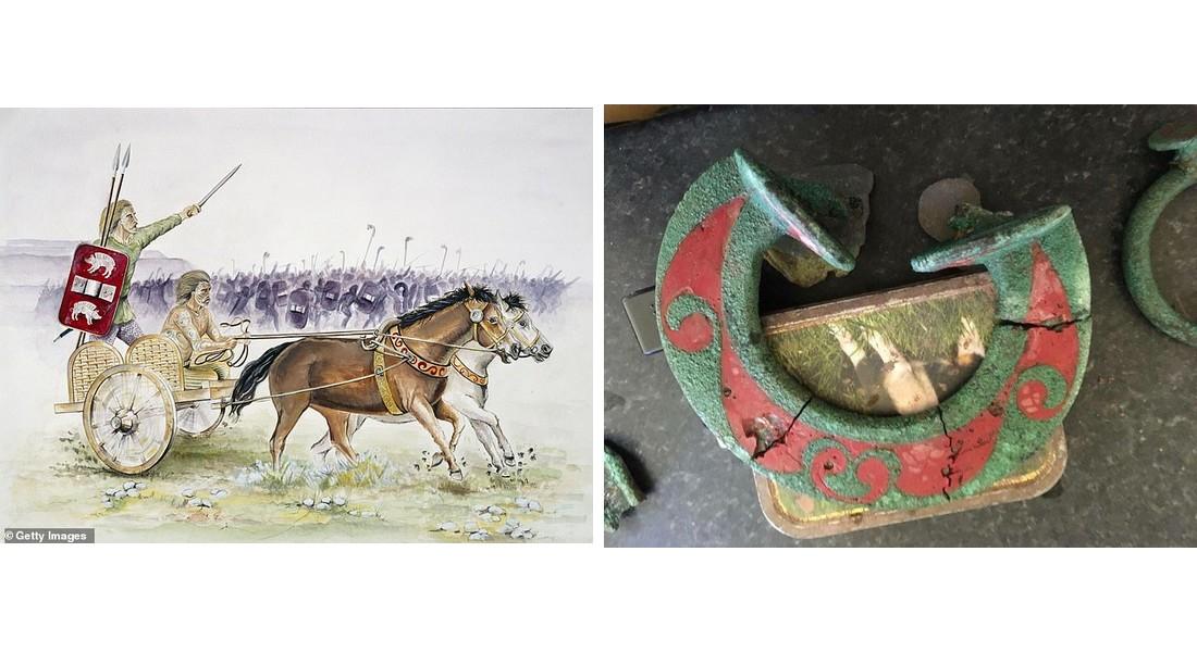 Representación artística de un carro celta de la Edad del Hierro y anilla que habría guiado las riendas del carro (fotografía de Mike Smith)