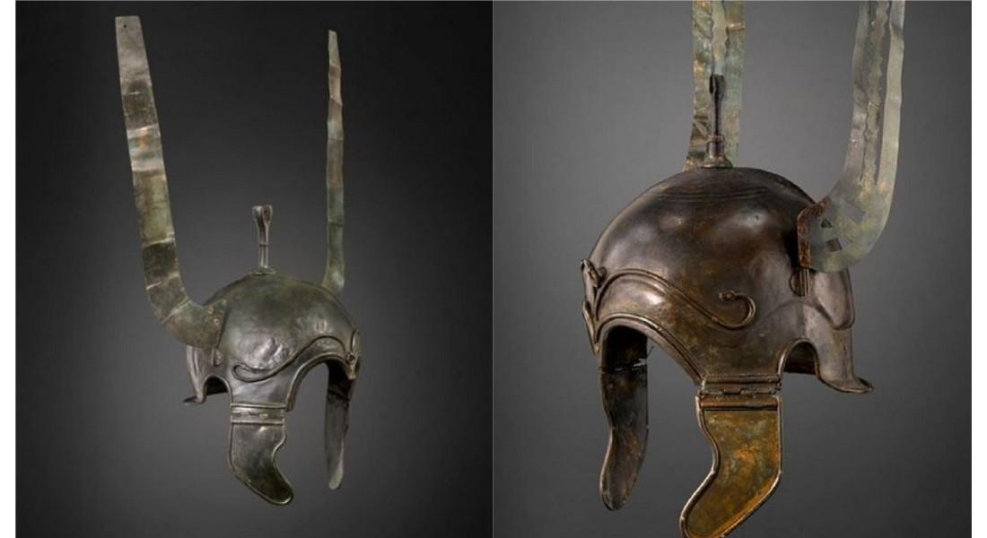 Dos de los cascos celtíberos expoliados en los años ochenta