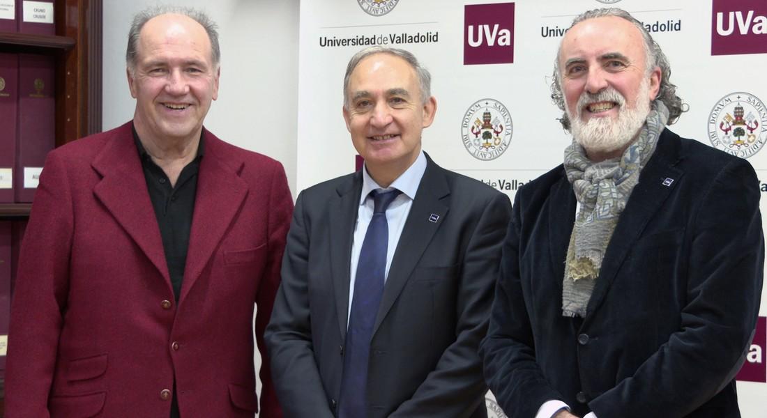 El consejero delegado de Tempos Vega Sicliia, Pablo Álvarez; el rector de la Universidad de Valladolid, Antonio Largo; y el director del CEVFW, Carlos Sanz