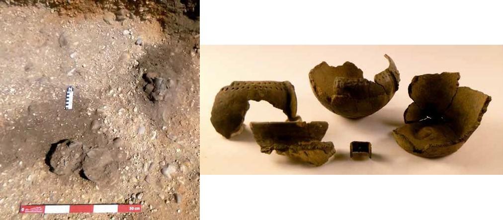 Detalle de la tumba 317 durante el proceso de excavación y ajuar de la misma tras el trabajo de laboratorio