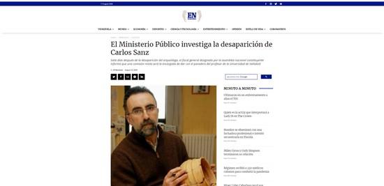 Noticia difundida por el periódico venezolano El Nacional