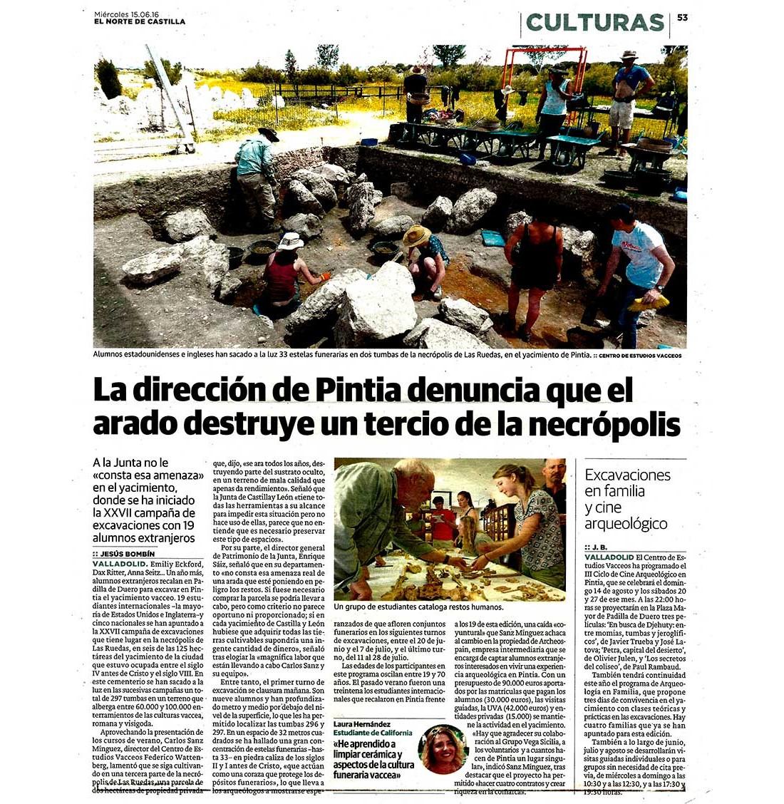 El Norte de Castilla denuncia la destrucción de una parte de la necrópolis de Las Ruedas