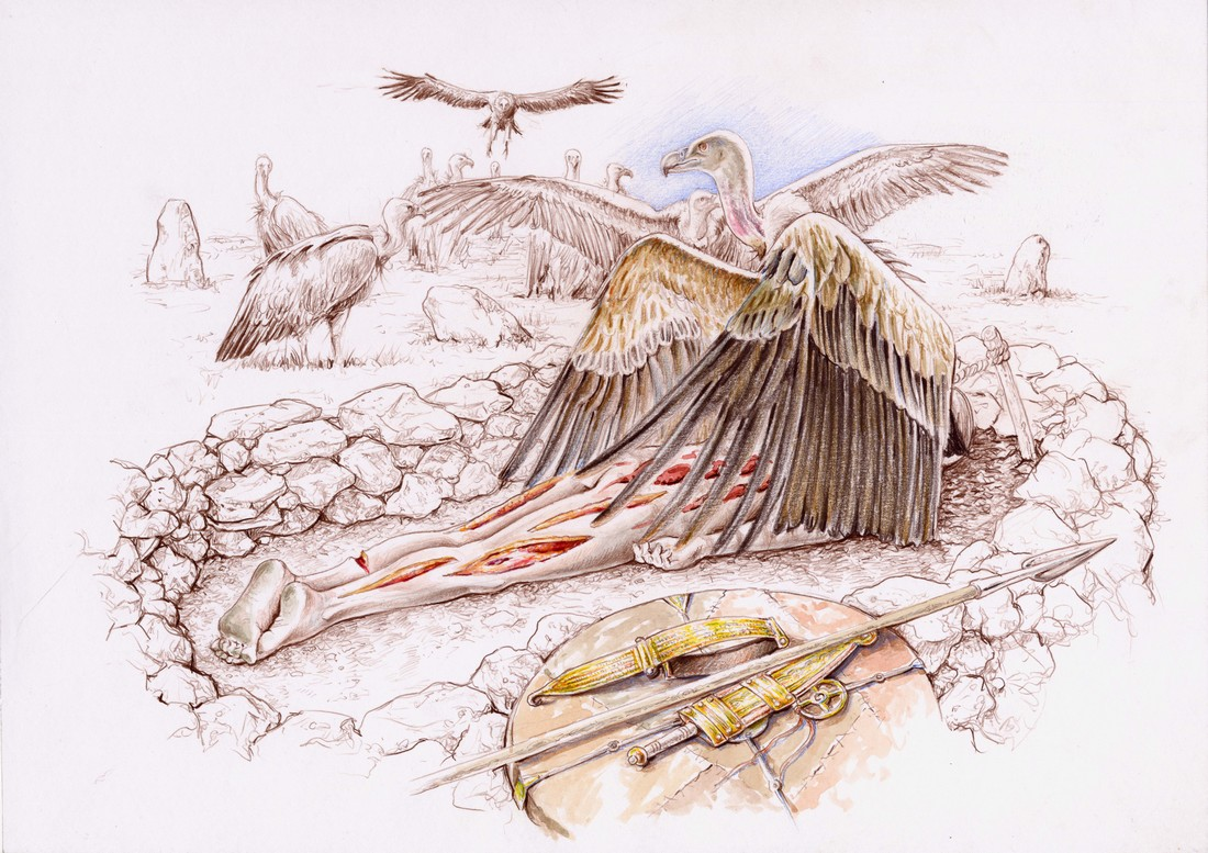 Exhibition to the vultures of a warrior killed in combat (drawing by Luis Pascual Repiso)