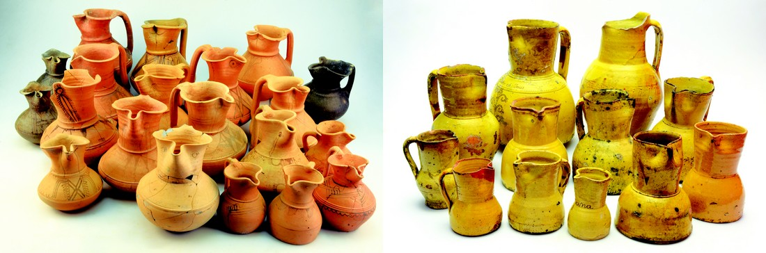 Survival in time of forms of the Vaccean pottery for wine service: left, various pitcher of beak found in Las Quintanas and Las Ruedas; right, set of Peñafiel pitcher (Ernesto del Campo Blanco Collection)
