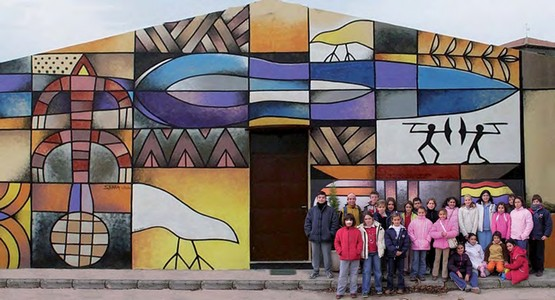 Headquarters of the Federico Wattenberg Center for Vaccean Studies in Padilla de Duero, with its famous mural by Manolo Sierra